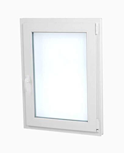Finestra PVC 60 cm x 70 cm | REGALO Staffe di Montaggio | Bianco | Aperture a Vasistas | Elevato...