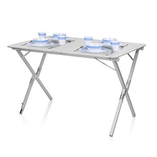 Campart Tavolo Pieghevole da Giardino e Campeggio TA-0802, 110 x 70 cm, Ideale per esterni, Alzata...