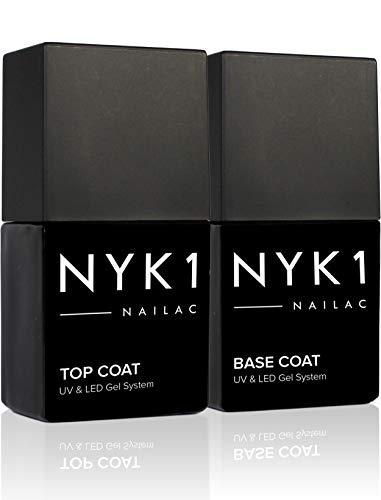 NYK1 Gel Base e Top Coat Semipermanente (10ml x 2) Professionale Smalto Semipermanente Base e Top...