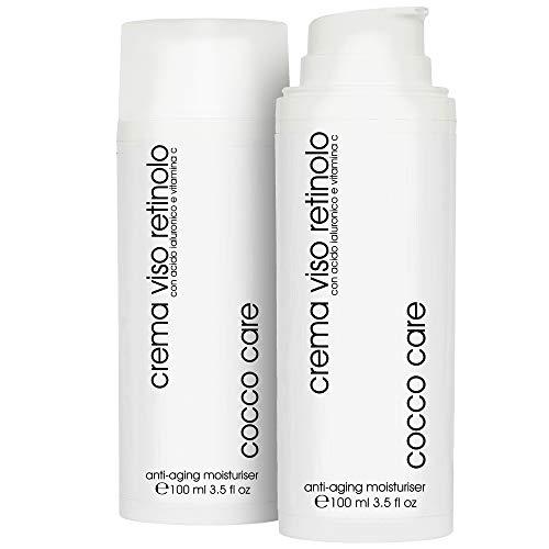 100ml - BIO Crema Viso Retinolo con Acido Ialuronico Puro 100% e Vitamina C - Contorno Occhi -...