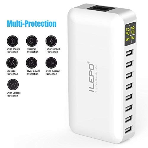 iLepo USB Charging Station 8-Port Charger Plug with LCD Display Voltage Meter Monitor 50W Max 8A...
