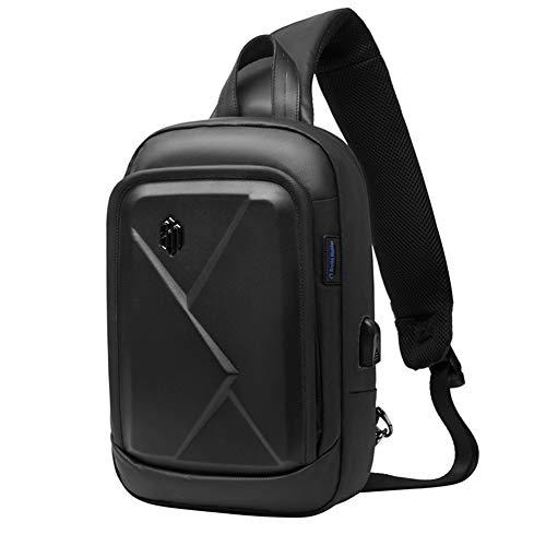 Zaino Monospalla Uomo - Arctic Hunter Marsupio Tracolla Nero, Impermeabile Sling Bag con Porta USB...