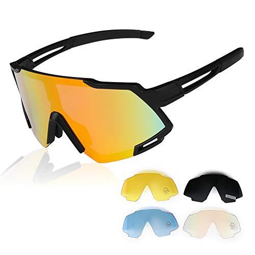 GARDOM Occhiali da Ciclismo Polarizzati, Occhiali da Sole Sportivi, Anti-UV con 5 Lenti...