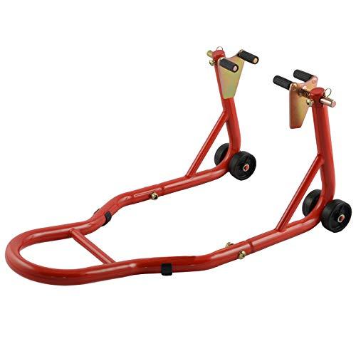 Cavalletto Moto Anteriore Alza Solleva Regolabile 4 Ruote Rosso Universale