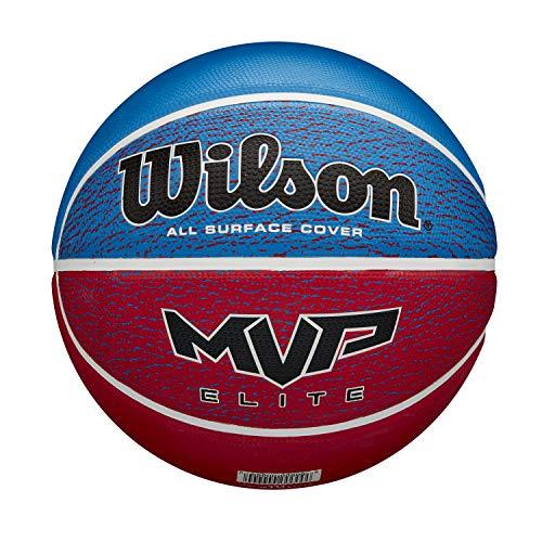 Wilson MVP Elite BSKT RWB SZ5, Pallone da Basket, Rivestimento in Gomma, Tutte Le Superfici