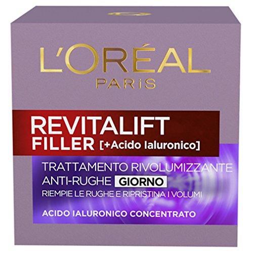 L'Oréal Paris Crema Viso Giorno Revitalift Filler, Azione AntiRughe Rivolumizzante con Acido...