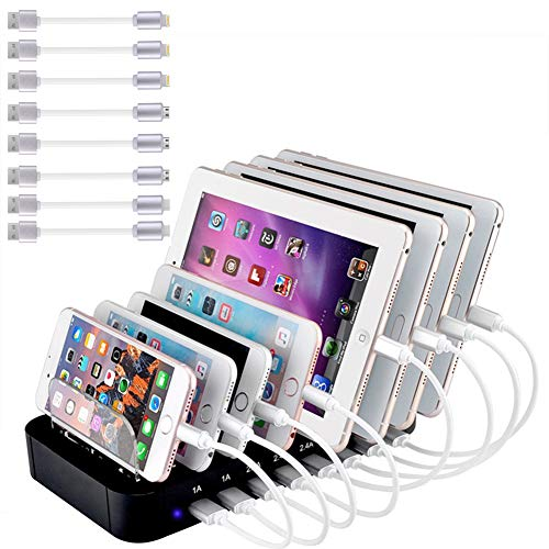Evfun Stazione di Ricarica USB Caricatore 8 Porte 60W 12A Multiplo Base di Ricarica per Apple iPhone...