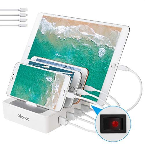 allcaca Stazione di Ricarica con Interruttore Caricatore USB 4 Porte Caricatore USB Supporto di...